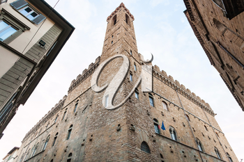 travel to Italy - tower of Bargello palace (Palazzo del Bargello, Palazzo del Popolo, Palace of the People) in Florence city in morning