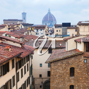 travel to Italy - above view of old residential quarter in Florence town in rain