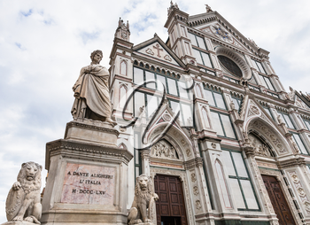 travel to Italy - monument of Dante Alighieri and Basilica di Santa Croce (Basilica of the Holy Cross) in Florence city