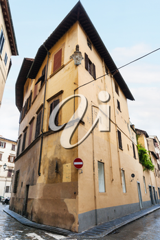 travel to Italy - old corner house in historic center of Florence city
