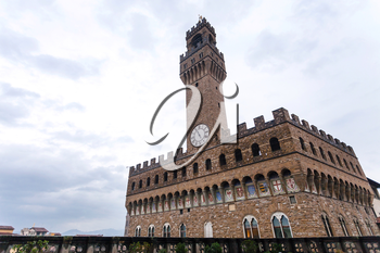 travel to Italy - view of Palazzo Vecchio in rain in Florence city