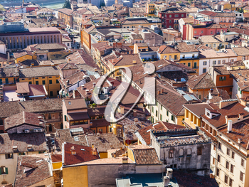 travel to Italy - above view of Verona cityscape from tower Torre dei Lamberti in spring