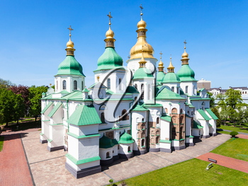 travel to Ukraine - view of building of Saint Sophia (Holy Sophia, Hagia Sophia) Cathedral from bell tower in Kiev city in spring