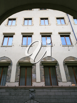 travel to Italy - view of facade of old apartment house from arch of vasari corridor in Florence city
