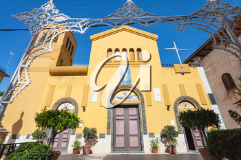 travel to Sicily, Italy - front view of Chiesa di San Pancrazio in Giardini Naxos town in summer