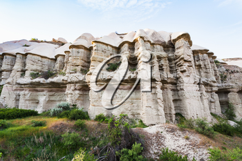 Travel to Turkey - rock walls of gorge near Goreme town in Cappadocia in spring
