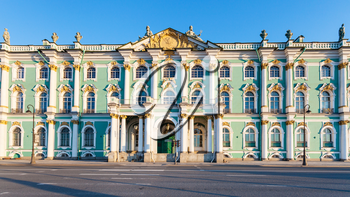 facade of Winter Palace on Dvortsovaya Embankment in Saint Petersburg city in March evening
