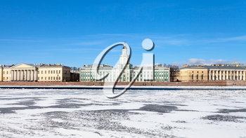front view of Universitetskaya Embankment with baroque palaces on Vasilievsky Island in St Petersburg city in sunny spring day