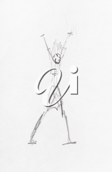 sketch of anthropomorphic figure with raised hands hand-drawn by black pencil on white paper