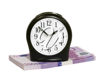 Black clock and euro stack isolated on white background.