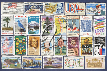 Set of different USA postage stamps suitable as background.