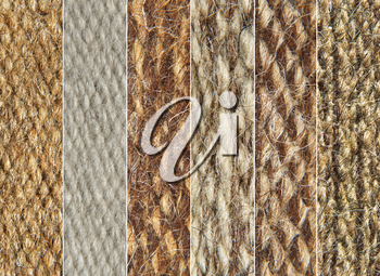 Rough camel wool fabric texture pattern collage as background.