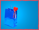 Blue Valentines Day gift bag and red heart on blue background with red frame border.