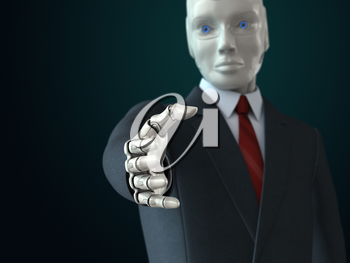 Robot in suit giving his hand. 3D illustration