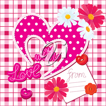 Romantic Card with heart and flowers on checked background