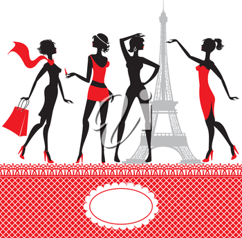Set of silhouettes of fashionable girls on a white background.