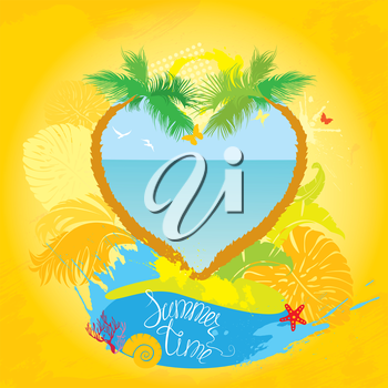 Frame in grunge style for travel and vacation design - two palm tree in heart shape
