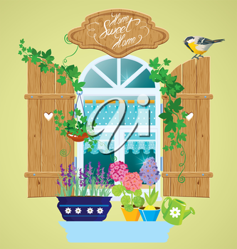 Window and flowers in pots, tomtit bird and handwritten text Home, Sweet Home. Summer or spring season.