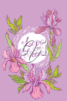 Card with round lace frame and orchid flowers on purple background. Handwritten calligraphic text Love you Forever. Design for Wedding, Happy Valentines Day Holidays, Vintage style.