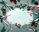 Winter horizontal card with frame, berries, cone, fir tree on wooden texture background. Design for Christmas and New Year Holidays.