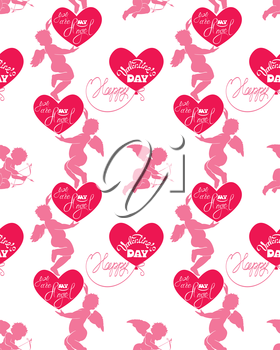 Seamless pattern with silhouettes of angel and heart, calligraphic text You are my Angel and Happy Valentine s Day. Pink background, Love concept.