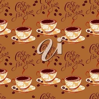 Seamless pattern with coffee cups, beans, calligraphic hand written text Coffee for you. Background design for cafe or restaurant menu.