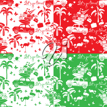 Set of seamless patterns with small retro travel car, luggage, palm trees, flamingo, text Lets go travel. Red, green and white color backgrounds. Element for summer greeting, posters