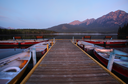Morning view of Pyramid Lake in Jasper National Park