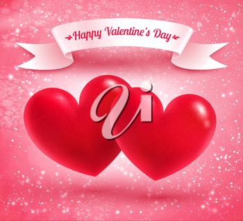 Two Valentine hearts with white scroll ribbon banner on pink glitter grunge background.