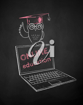 Owl in mortarboard sitting on laptop. Vector chalk drawn illustration of online education concept in red and white on black chalkboard background.