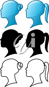Royalty Free Clipart Image of a Woman Profiles