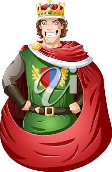 Royalty Free Clipart Image of an Arrogant King