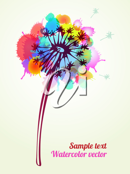 Vector graphic, artistic, Stylized image of a flower on a background of ink droplets. The composition can be used to design T-shirt, clothes, dishes, advertising, business cards, greeting cards, invit