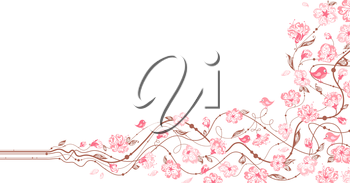 Hand-drawn ornate flowers in bloom on a branch. There is place for your text on white area.