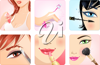 Health and beauty icons with floral vintage elements. Eyebrow pencil, lipstick, mascara, nail polish, perfume and rouge with brush.