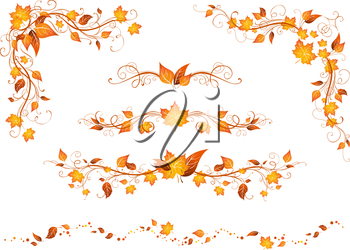Ornate design elements with bright autumn leaves isolated on a white background.