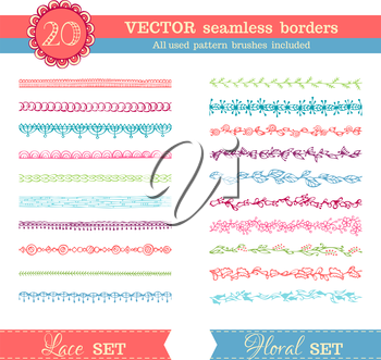 Lace and floral hand-drawn design elements. Seamless patterns for frames, patterns and borders. All used pattern brushes are included in brush palette.