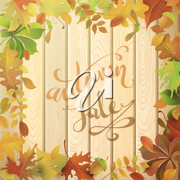 Colourful autumn leaves on light wood background. Hand-written text in the center.