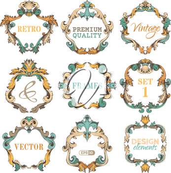 Ornate retro frames and page decorations. There is place for your text in the center.