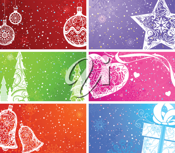 Coloгrful backgrounds with Christmas elements. Christmas balls, Christmas tree, Christmas decorations, bell, heart, star and gift. The size of each background is 3,2x2 inch, as size of business card.