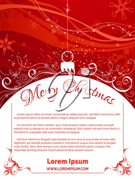 Bright background with Christmas tree decoration on foreground, snowflakes and swirls elements on red grunge background. There is copy space for your text on white area.