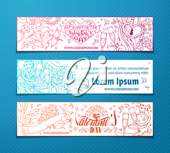 Set of doodles love banners. Cupid, hearts, music notes, gift, balloons, ribbon, ring, roses, lock and key, hand-written lettering. Vector web templates.