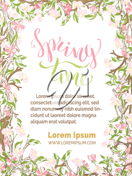 Pink flowers on branches on white background. Vector card vertical template. You can place your text in the center.