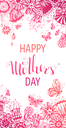 Pink hand-drawn background. Vector template. There is place for your text in the center.