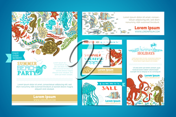 Vector cartoon design elements. A4 paper, business cards, banners. Octopus, turtle, fish, starfish, crab, shell, jellyfish, seahorse, seaweed.