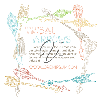 Colourful doodles tribal arrows on white background. Boho and hippie hand-drawn style. There is place for your text in the center.