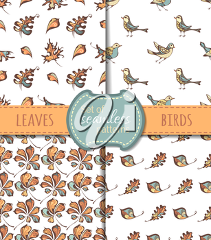 Hand-drawn birds, oak and chestnut leaves on white background. Vector boundless backgrounds.