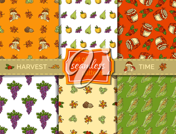 Autumn leaf, nut, berry and jam, corn, mushroom, grape, jam, apple and pear. Boundless pattern for your design. Fall time. Thanksgiving day.