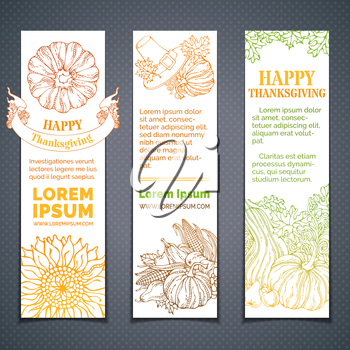 Pilgrim's hat, pumpkin, corn, wheat, sunflower, apple, pear, acorn, ribbon, autumn leaves. Copy space for your text. Hand-drawn outlined elements.