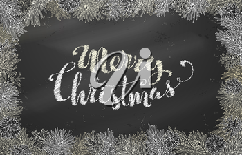 Vector festive blackboard background. Merry Christmas lettering.